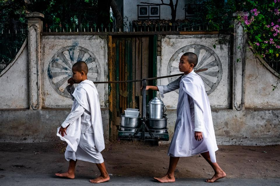 Photo winner: Two young monks on their daily walk to collect food.