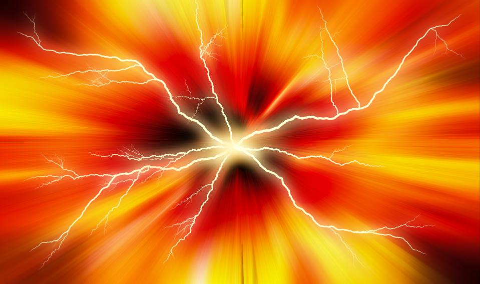 Abstract colorful background with straight lines energy, and electric lightning.