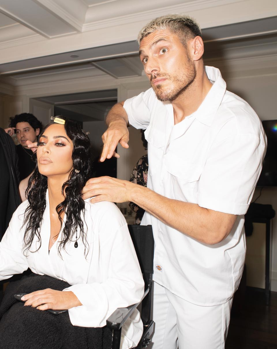 Chris Appleton and Kim Kardashian West getting her hair done before The Met Gala in 2019