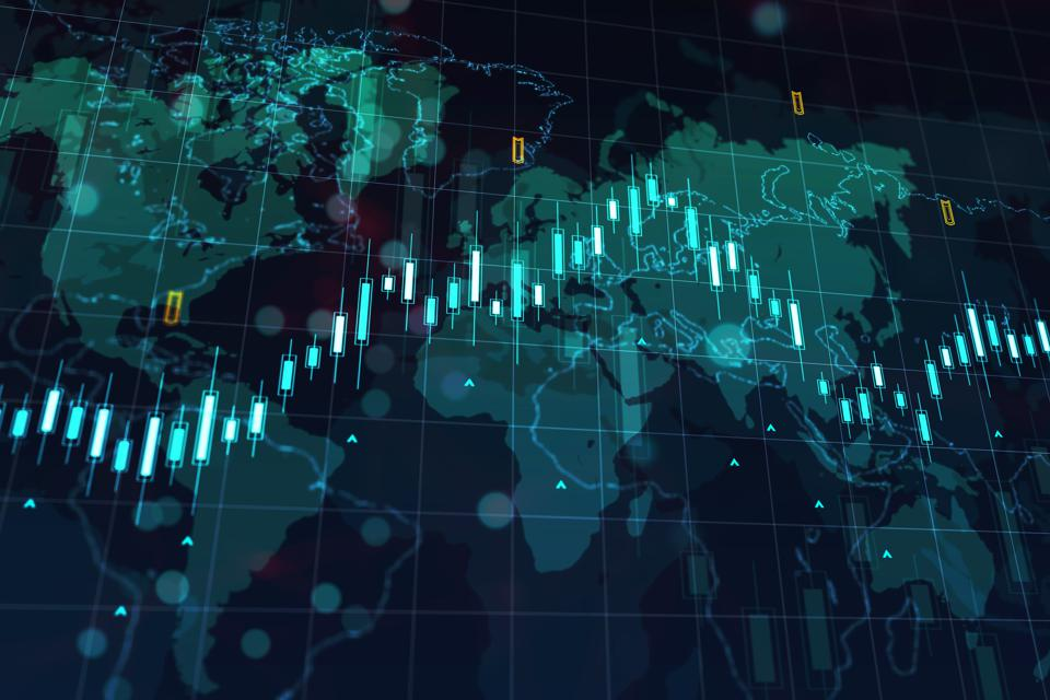 Financial chart on a world map background. 3D Rendering
