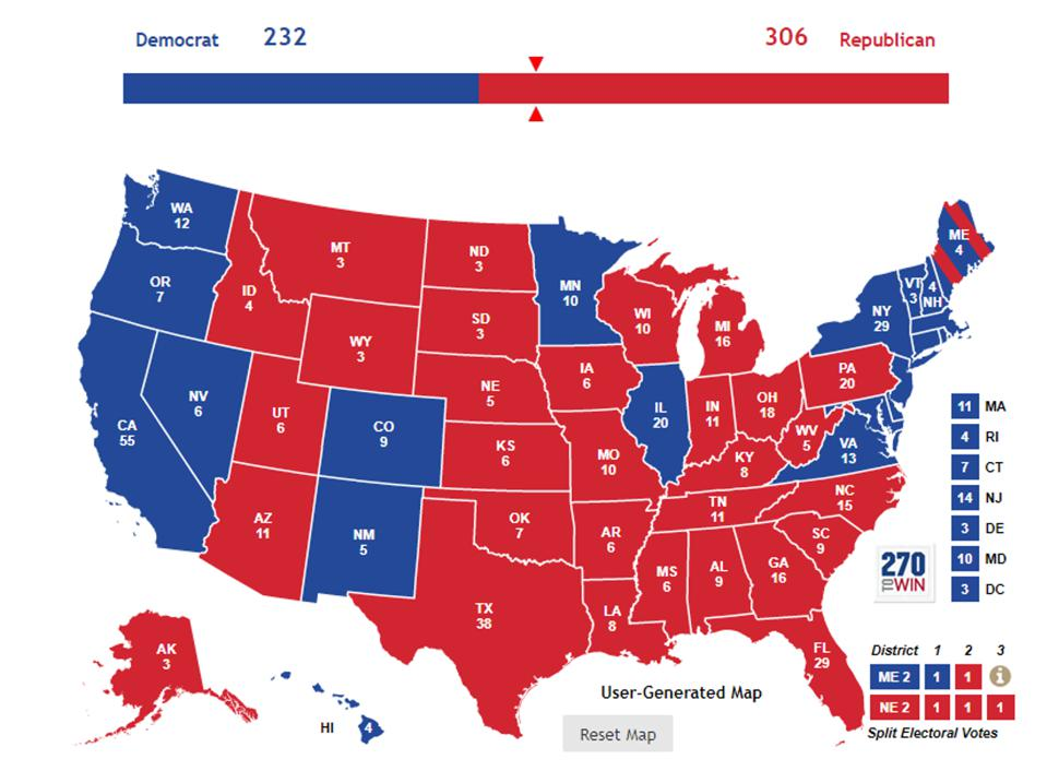 2016 electoral map shows Trump defeated Clinton in 32 of 50 states, mostly Flyover states.