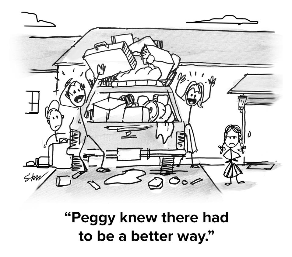 A family clamoring over a station wagon in their driveway overfilling it with too much luggage, making a chaotic mess, with the little daughter/sister watching with a frown. The caption reads: ″Peggy knew there had to be a better way″