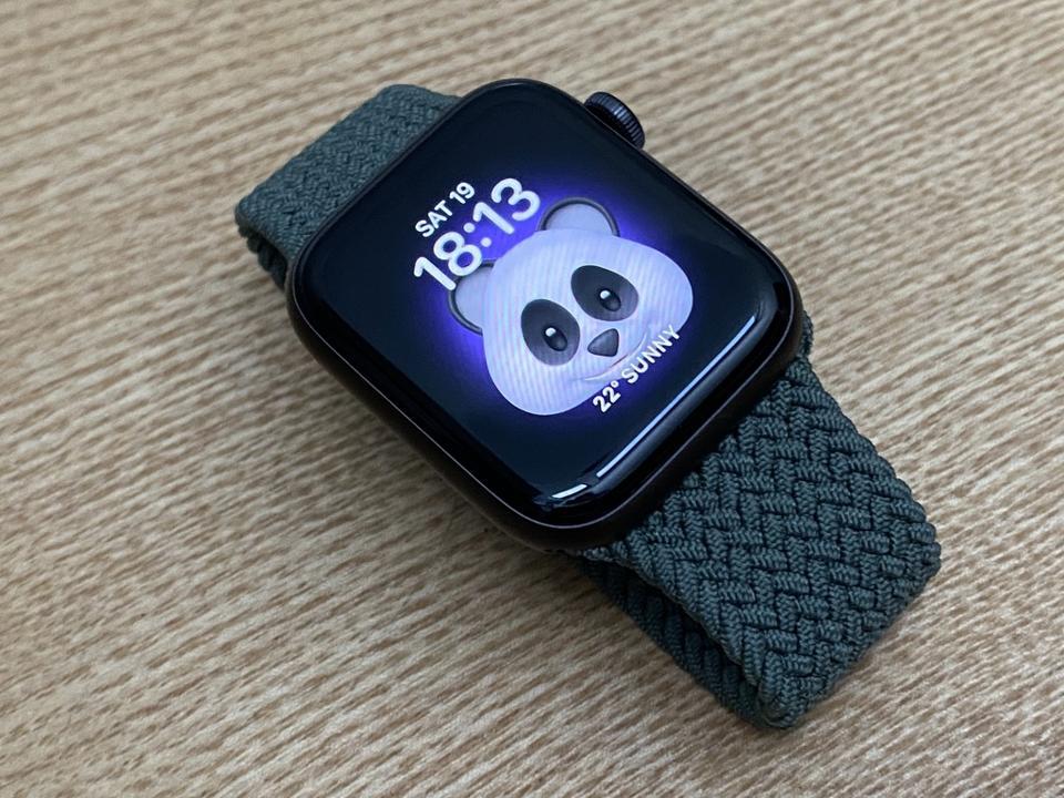 Apple Watch SE with cute panda emoji.