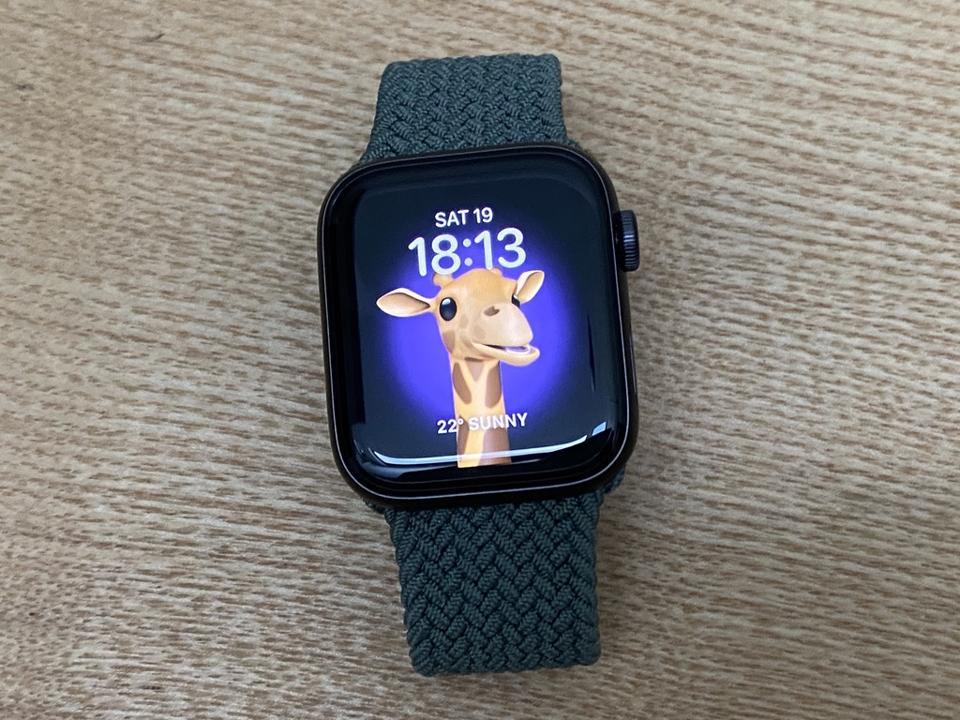 Giraffe Memoji on Apple Watch SE.