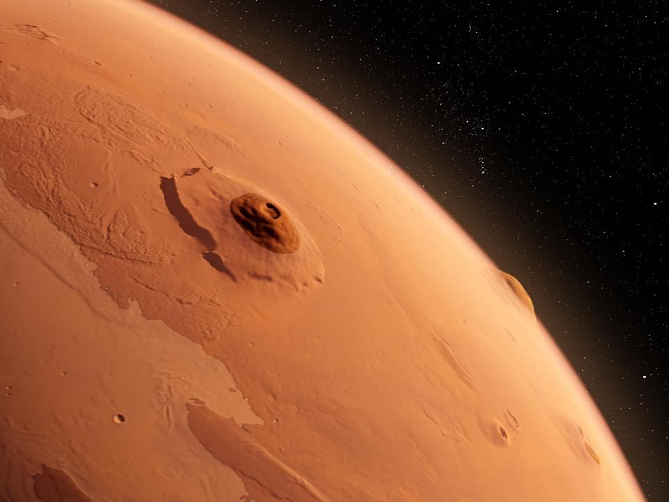 Olympus Mons, Mars, illustration