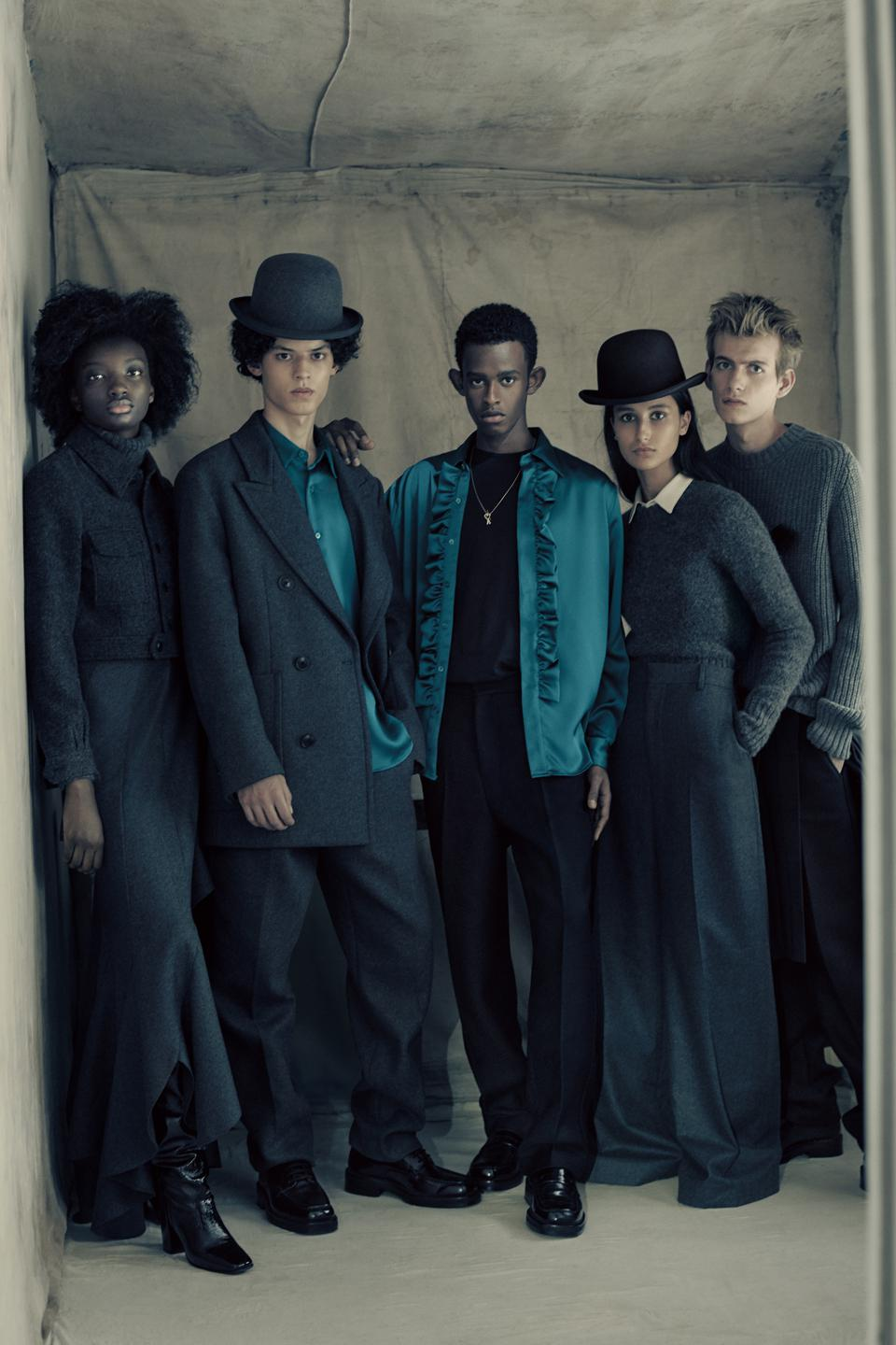 A lineup of five models of various races modeling pieces of the Fall 2020 AMI Paris