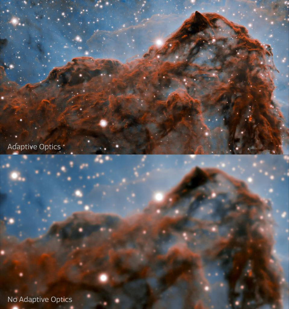 This image shows a comparison of the new image (top) of the western wall of the Carina Nebula taken by the international Gemini Observatory, a Program of NSF's NOIRLab, and an image of the same region without Adaptive Optics (bottom).