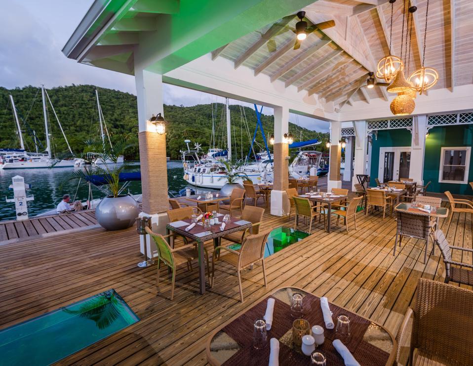 The restaurant area near a bay in the Caribbean.