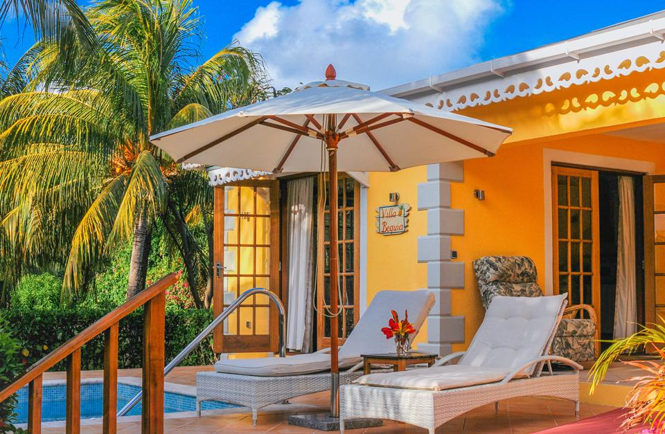 The pool area at Bequia Beach Hotel.