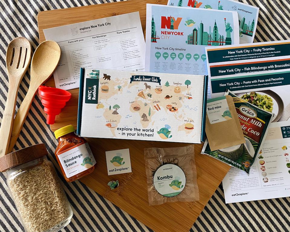 Food box with NYC themed materials