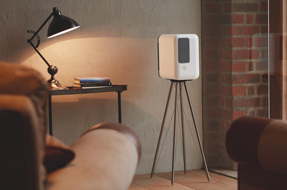 Q Acoustics Q Active 200 speakers on the optional Q FS75 floor stands