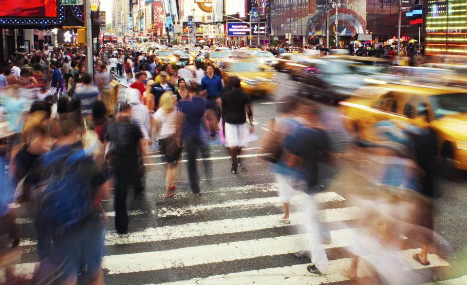 USA, New York City, Time Square, people walking