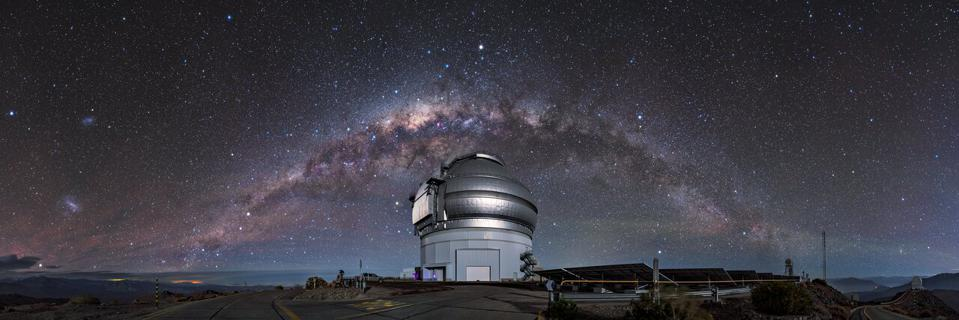 Gemini South, sitting on the summit of Cerro Pachón in Chile. It is the southern member of the pair of 8.1-meter telescopes, which together comprise the international Gemini Observatory, a Program of NSF's NOIRLab.