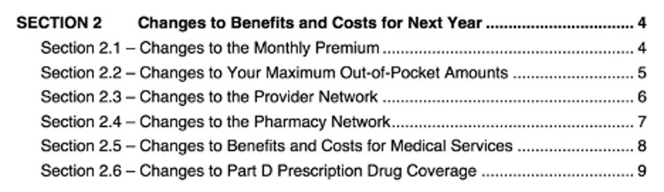 Table of contents related to Medicare benefits