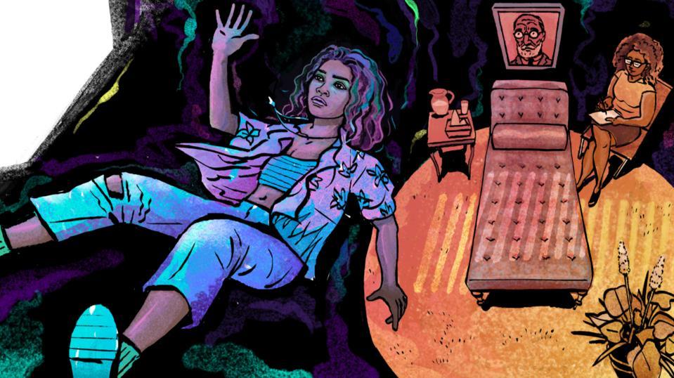 "Illustration of Zendaya in Euphoria; Freud in the ""Sunken Place."""