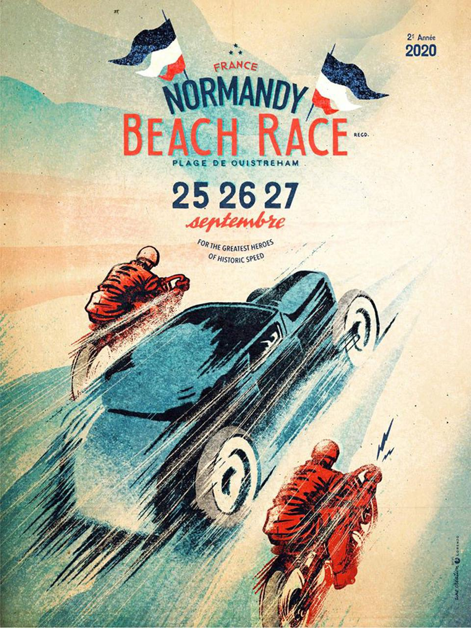 Normandy beach race France America vintage cars US Europe