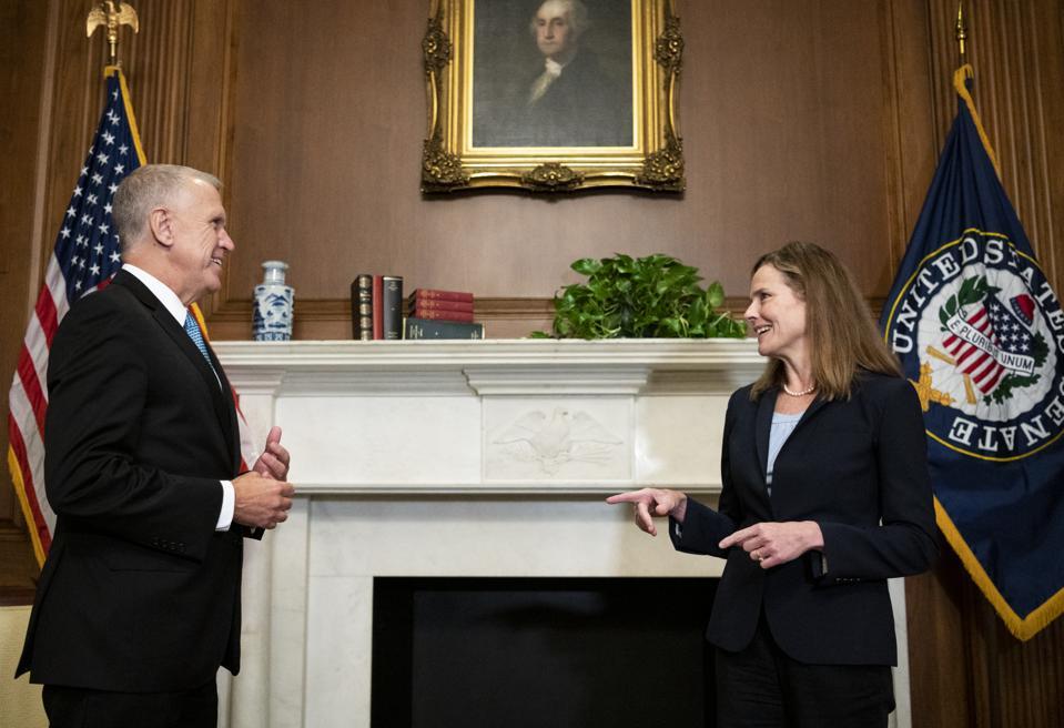 Sen. Thom Tillis Meets With Supreme Court Nominee Amy Coney Barrett