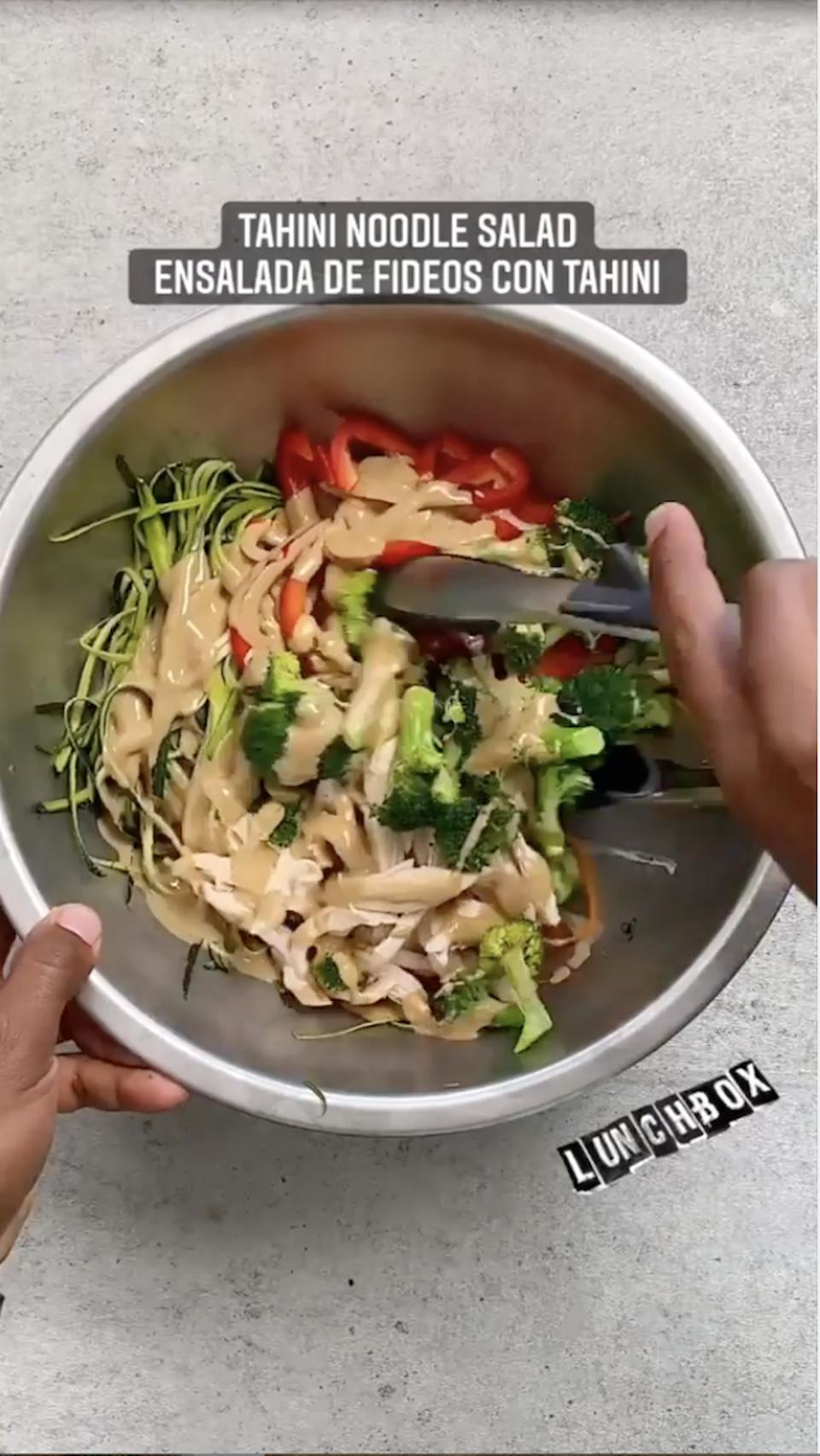 A snapshot of Kevin Curry's recipe Reel showing how to make tahini noodle salad.
