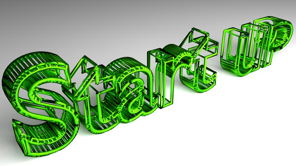 Start up sign in green glossy letters
