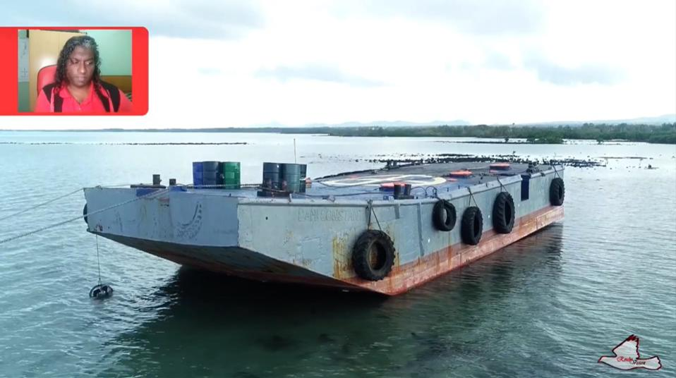 Drone footage of the barge that had been found the following day and attached to rocks just a few miles away from the sunken Sir Gaetan