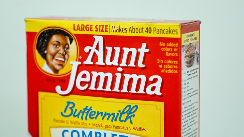 In this photo illustration an Aunt Jemima product seen on a...