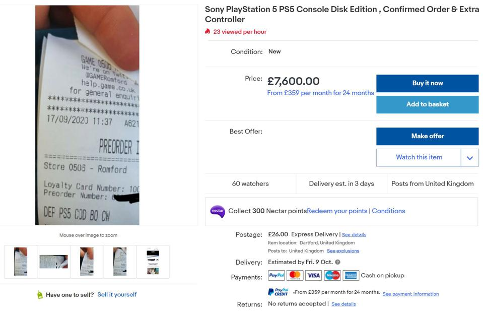 ebay listing of a $10,000 playstation 5
