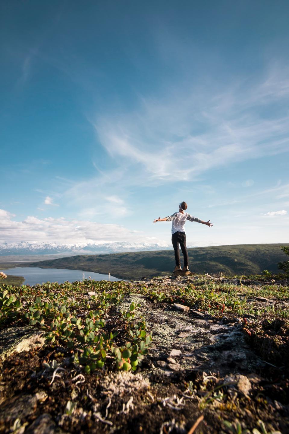 Man standing in grassland