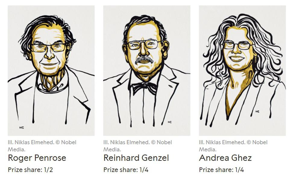 The three Nobel Prizewinning scientists in Physics for 2020: Penrose, Genzel and Ghez.