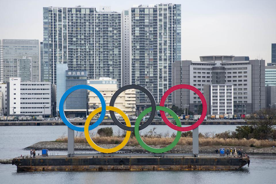 Giant Olympic Symbol Installed At Tokyo Waterfront
