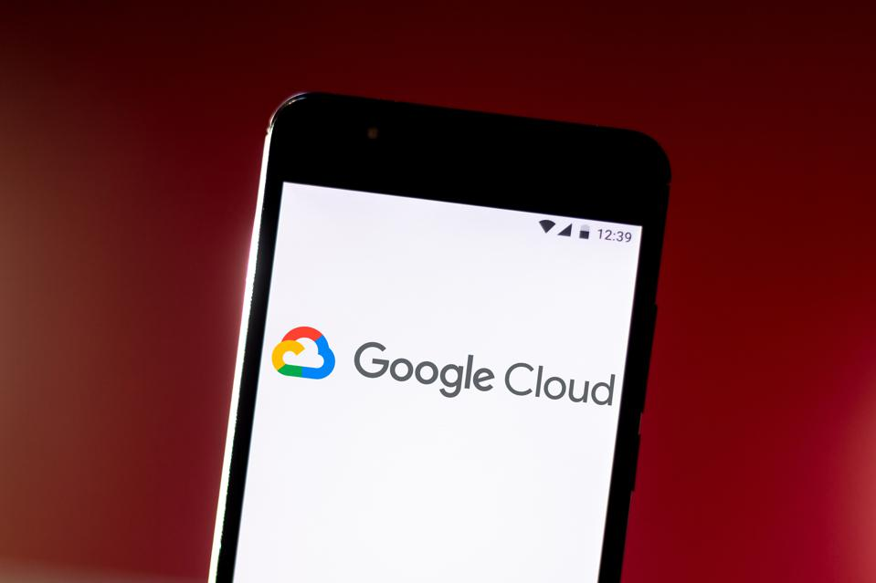 In this photo illustration a Google Cloud Platform logo seen...