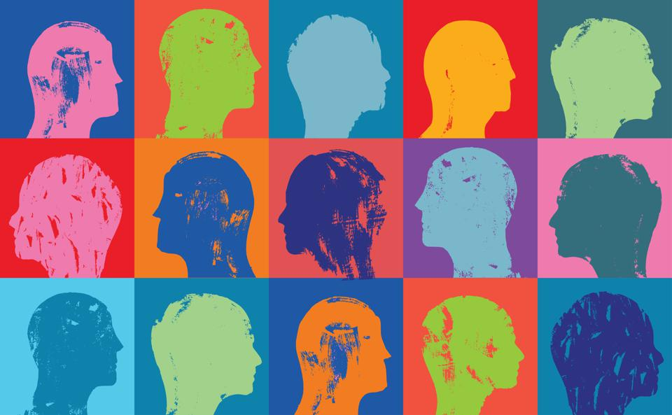 Head profiles pattern with color showing mental health issues.