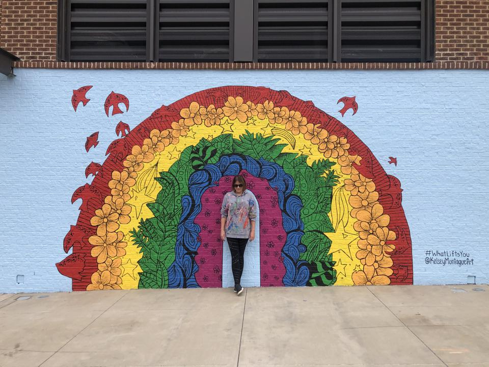 Kelsey Montague and her mural