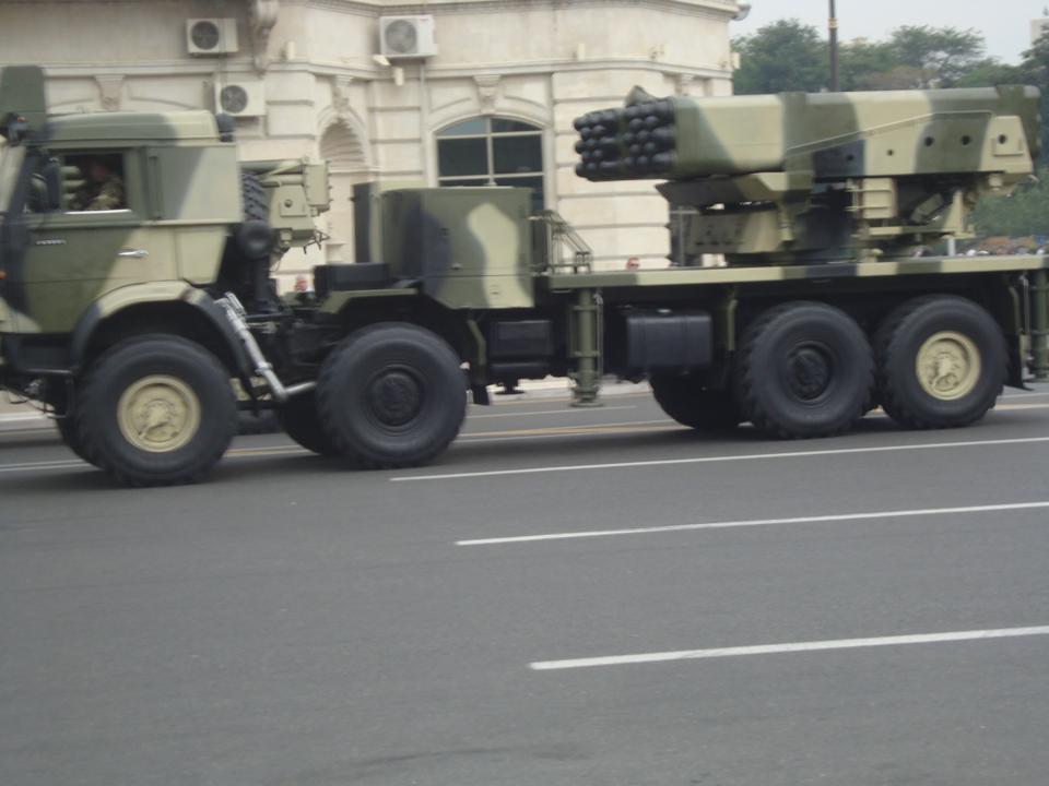 Azerbaijani LAR-160 rocket launcher on parade.