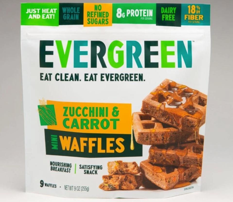 Zucchini & Carrot Frozen Mini Waffles – Eat Evergreen whole grain breakfast snack healthy