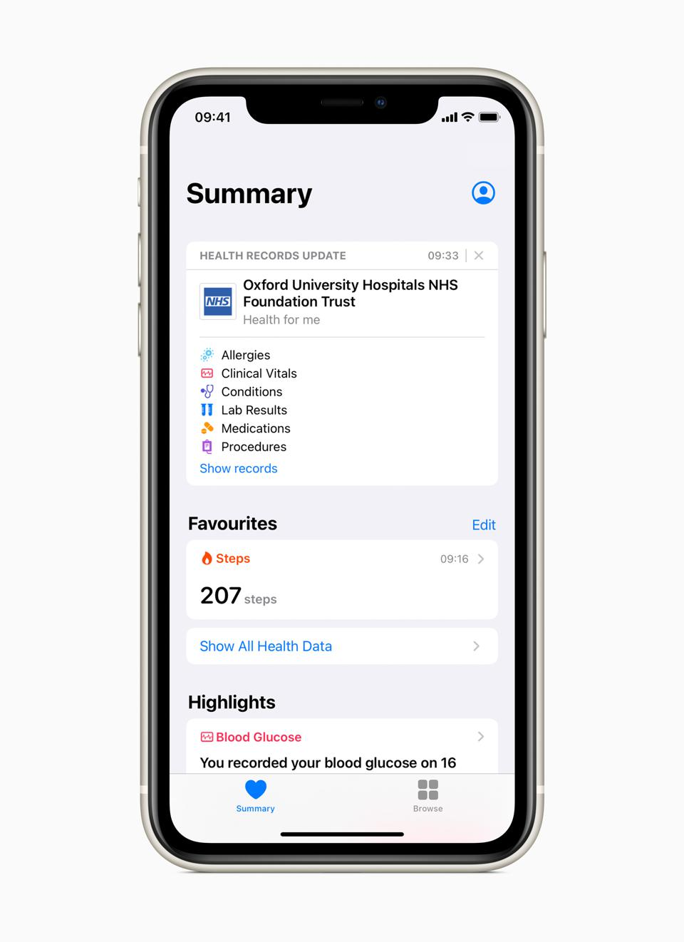Apple Health Records in the Oxford University Hospital NHS Foundation Trust