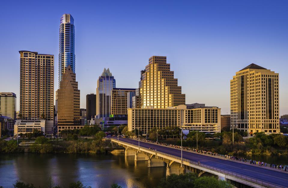Austin Texas cityscape skyline panorama, Congress Avenue Bridge, late afternoon