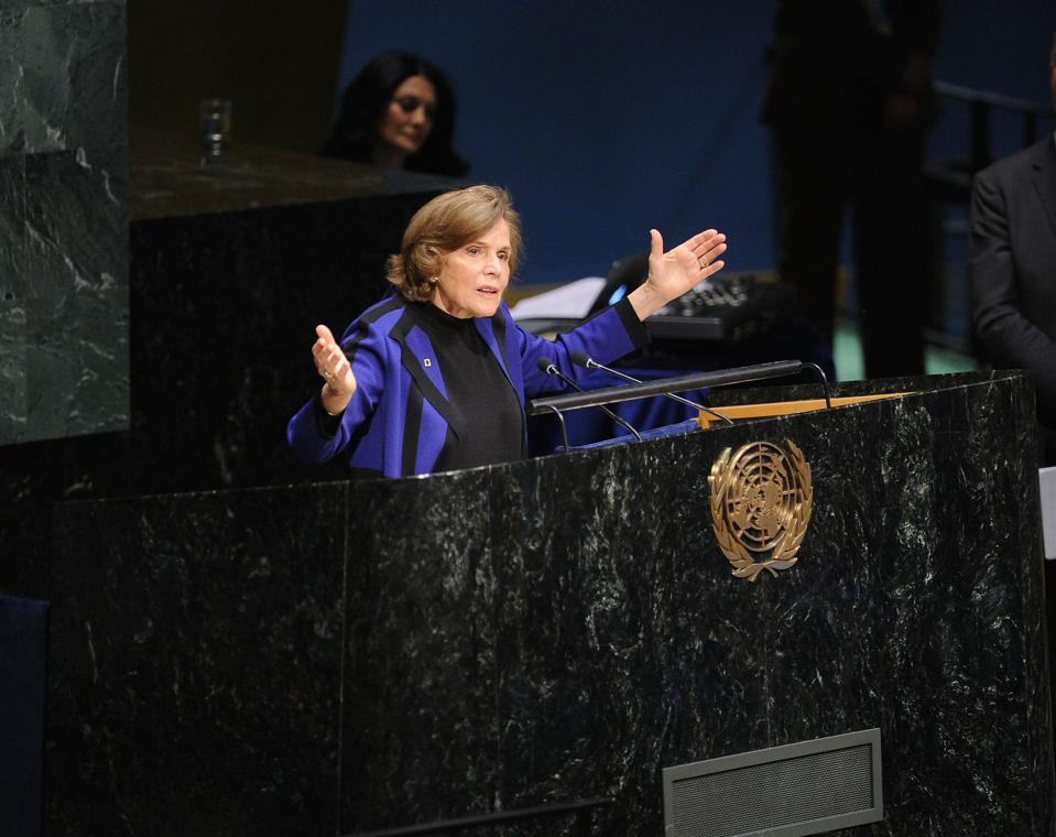 Mar 2015: Marine biologist Dr Sylvia Earle addressing audience at the United Nations General Assembly Hall in New York City.