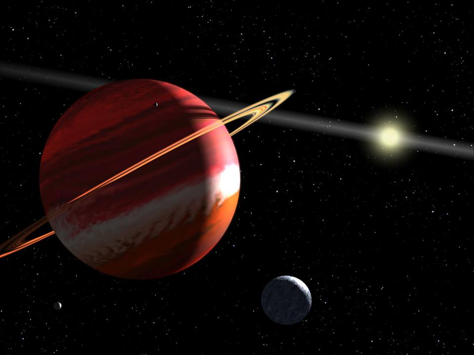 This is an artist's concept of a Jupiter-mass planet orbiting the nearby star Epsilon Eridani. Located 10.5 light-years away, it is the closest known extrasolar planet to our solar system.