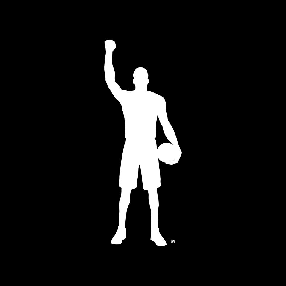 Logo of man holding basketball on his hip and fist in the air