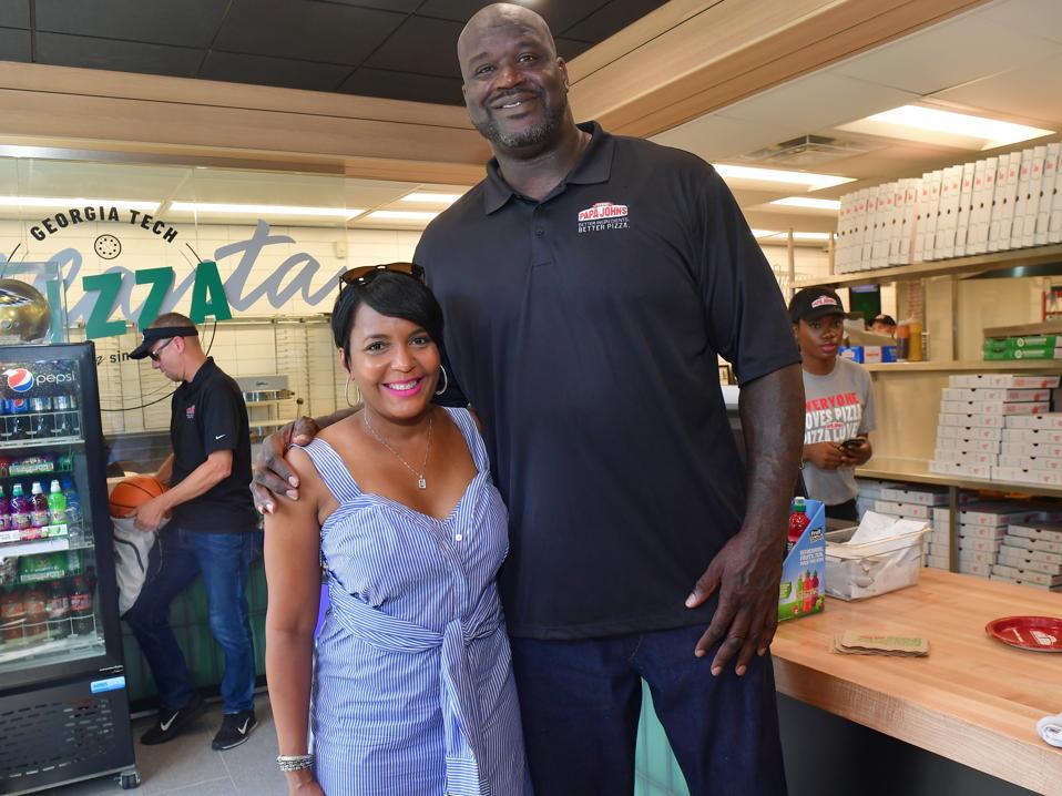 Shaq with Atlanta Mayor Keisha Lance Bottoms, @ Shaq's Grand Opening