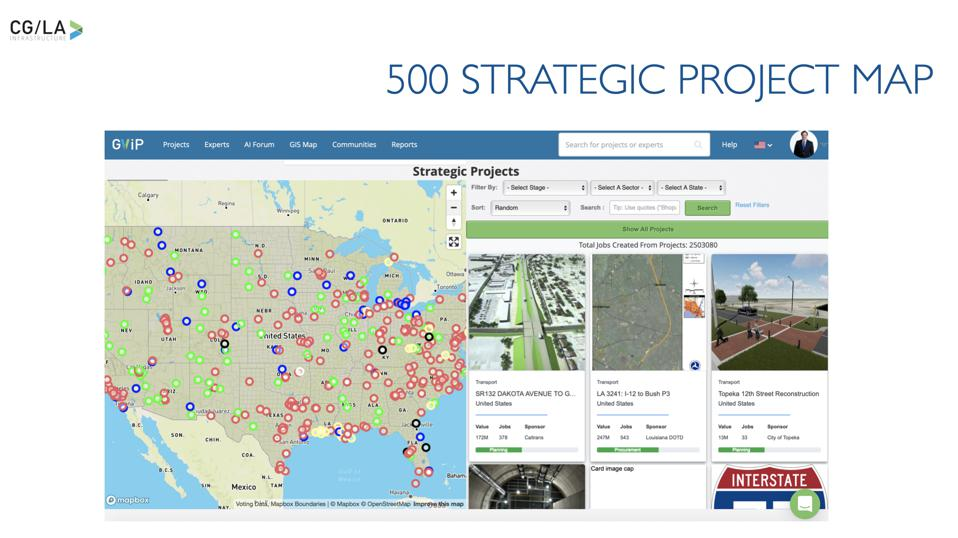 Map of the 500 shovel worthy projects across the U.S.
