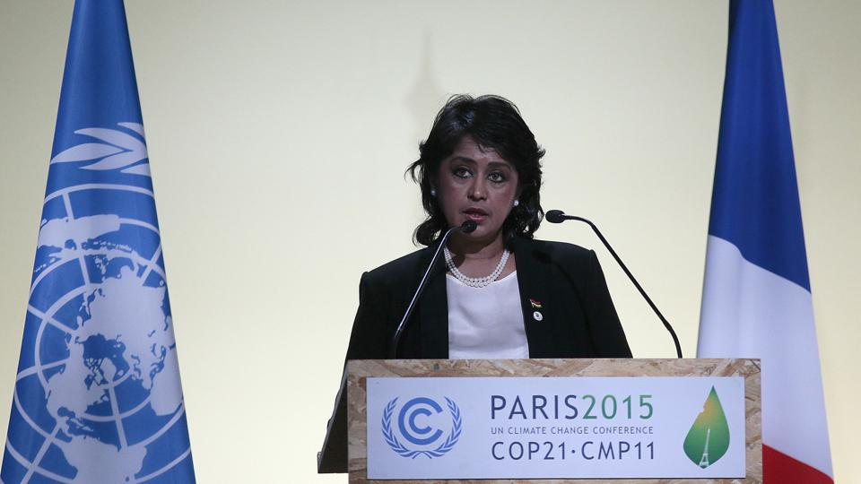 Mauritius President Ameenah Gurib-Fakim delivers a speech at the COP 21 United Nations conference on climate change in Paris on November 30, 2015 where 150 leaders met to agree climate targets.