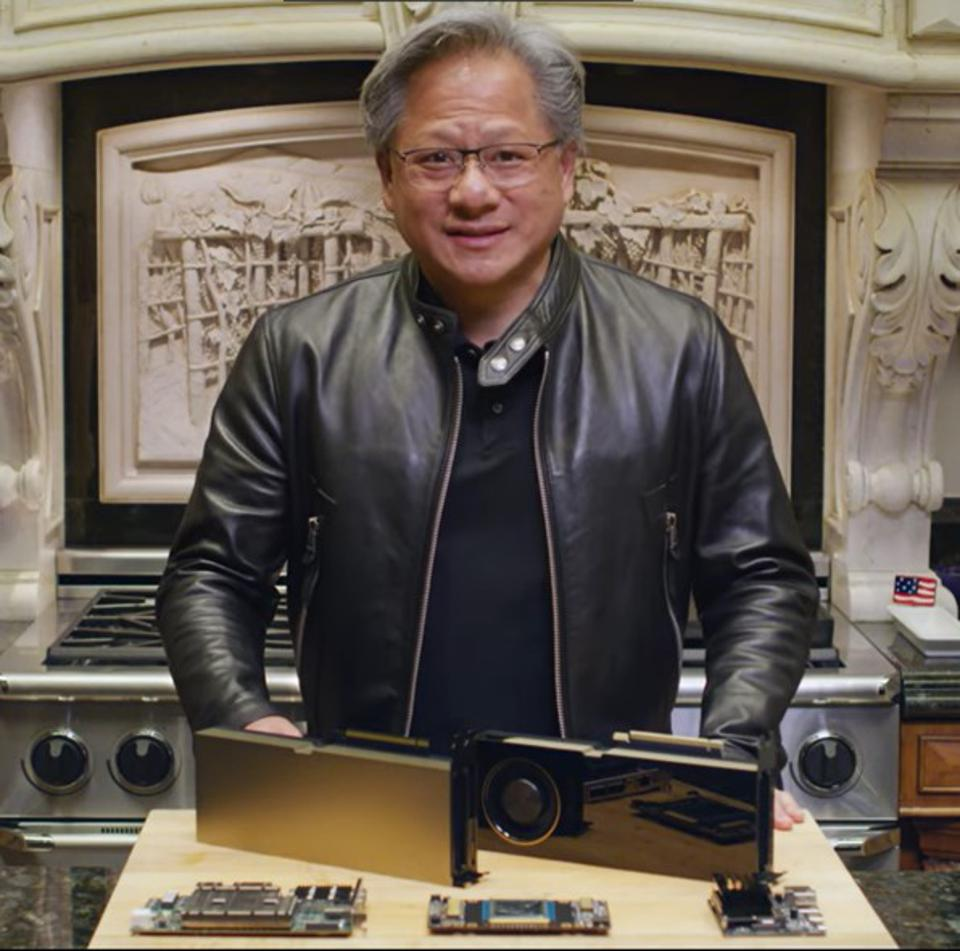 Image of Nvidia CEO Jensen Huang presenting from his kitchen