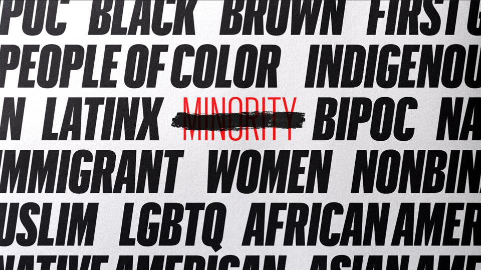 Minority crossed out among terms.