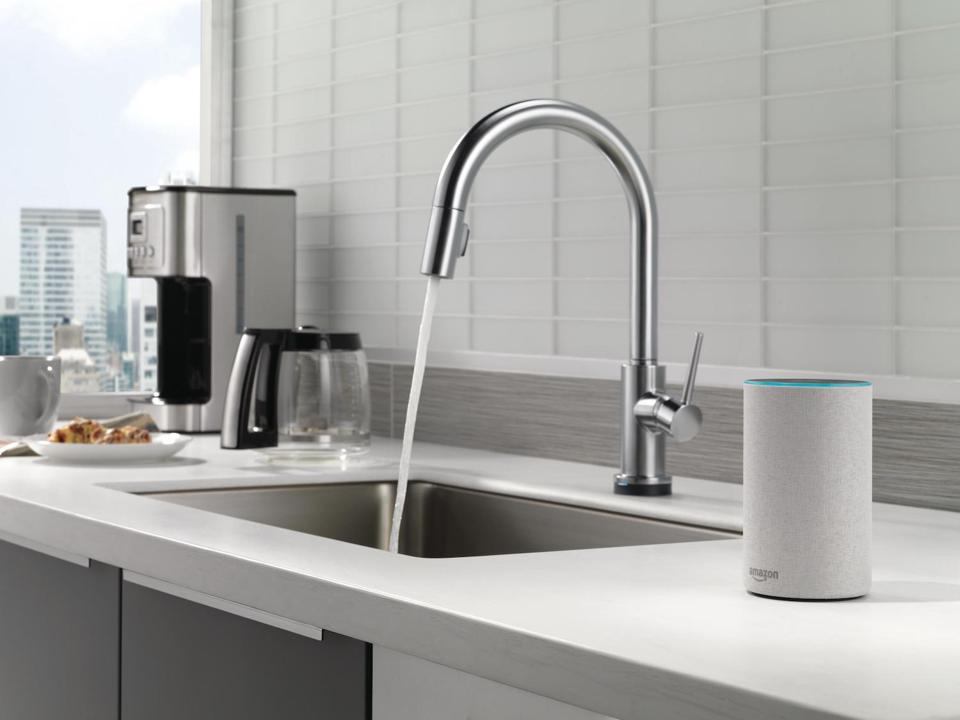 A touchless faucet by Delta Faucet Co. with VoiceIQ technology.