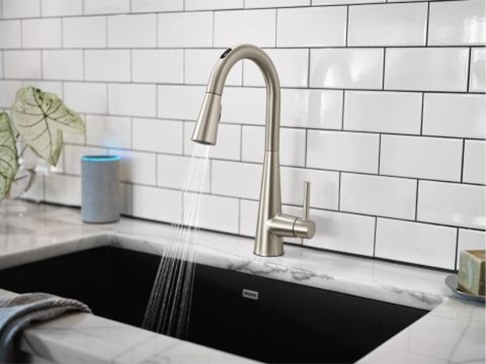 A kitchen faucet with Moen's U Smart Faucet.