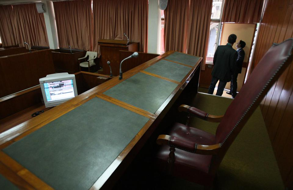 An internal view of Court room at the Supreme Court in Port Louis, Mauritius.