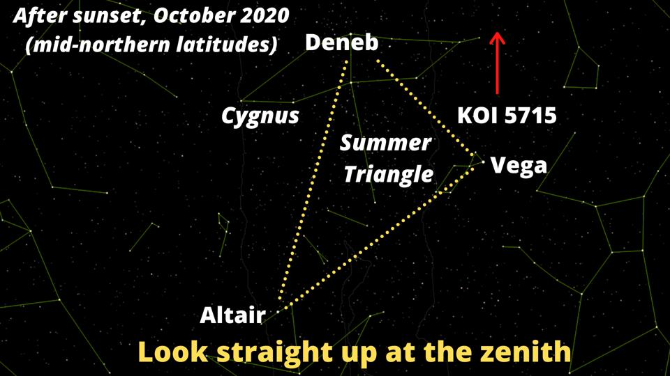 This is the position of KOI 5715—in the constellation of Cygnus, the Swan, and close to the famous ″Summer Triangle″ asterism.