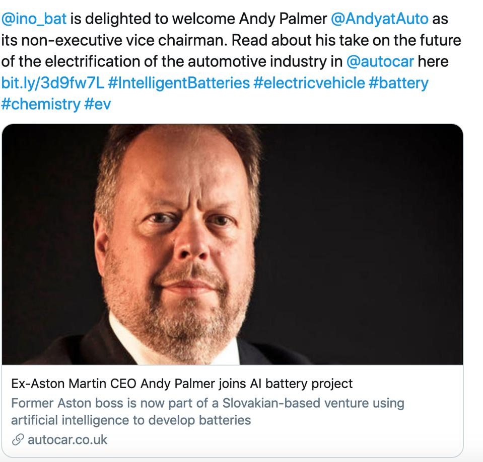 Britain's Autocar magazine broke the news of Palmer joining the AI battery project.