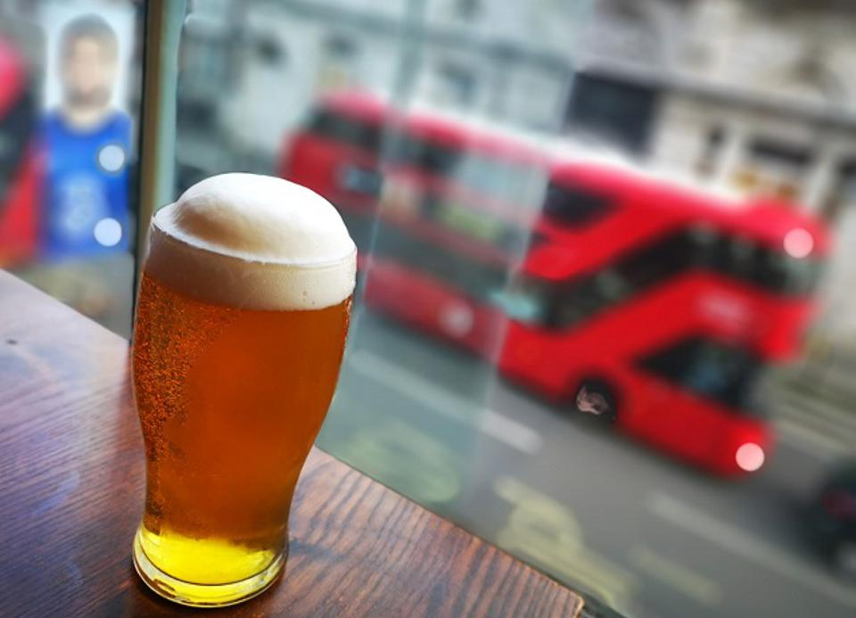 A pint of beer picture in a bar in London.